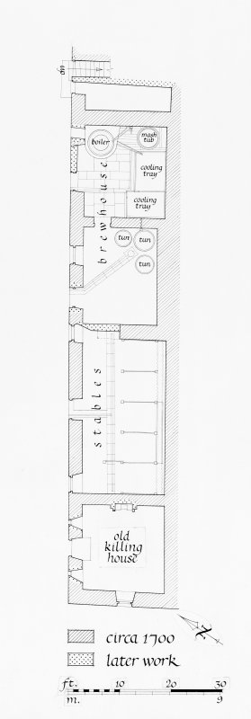 Photographic copy of lower floor plan of North wing showing building work c.1700 and later work Pen and ink, with scale. Digital image of PBD 285 15 P.