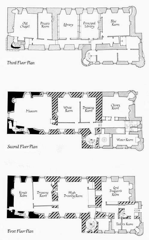 Photographic copy of plan of 1st, 2nd and 3rd floors showing different phases of construction Digital image of PBD 285/17 P