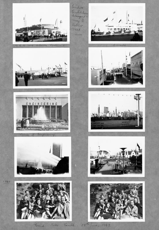Ten views of the 1938 Empire Exhibition in Bellahouston Park, Glasgow, including views of the Atlantic Restaurant, Palace of Engineering, Panatolic Jets and the Canadian Pavilion.