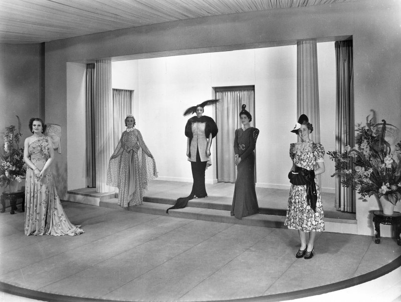 Empire Exhibition, 1938, interior Digital image of press photograph of fashion show in Fashion Theatre, Women of Empire pavilion.