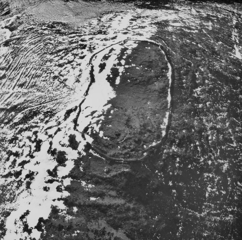 Ex-Scotland, Yeavering, Anglo-Saxon settlement - timber halls (Bede's Ad Gefrin) and Iron Age Hill fort (NGR NT926 305) Copy of Aerial photograph of Yeavering Bell, by Prof D Harding