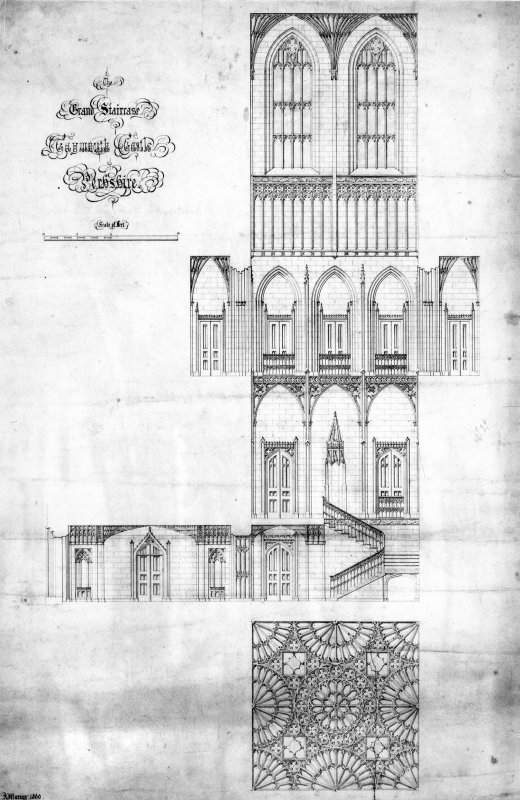Taymouth Castle. Digital image of design for staircase. Titled: 'The Grand Staircase, Taymouth Castle, Perthshire'.