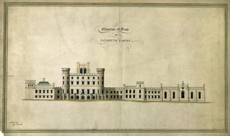 Elevation. Titled: 'Elevation of front of Taymouth Castle'.