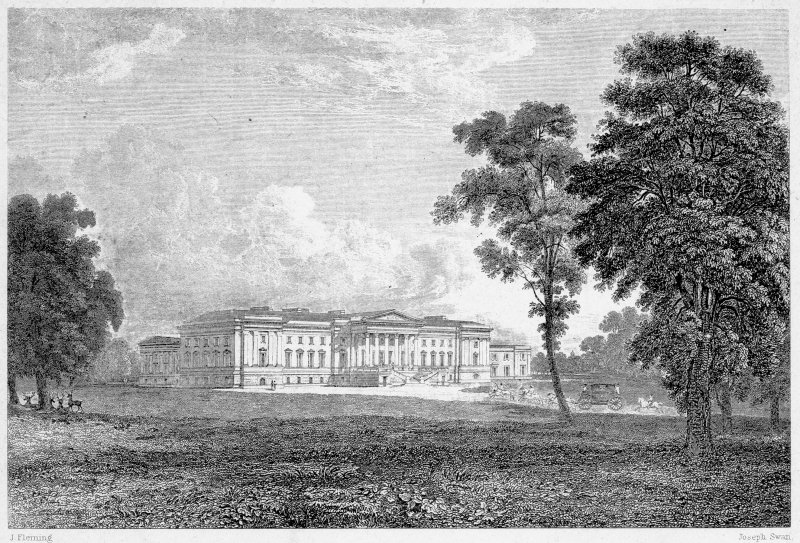 Photographic copy of engraving showing Hamilton Palace, copied from 'Swan's Views on Clyde' Digital image of A 39561 p