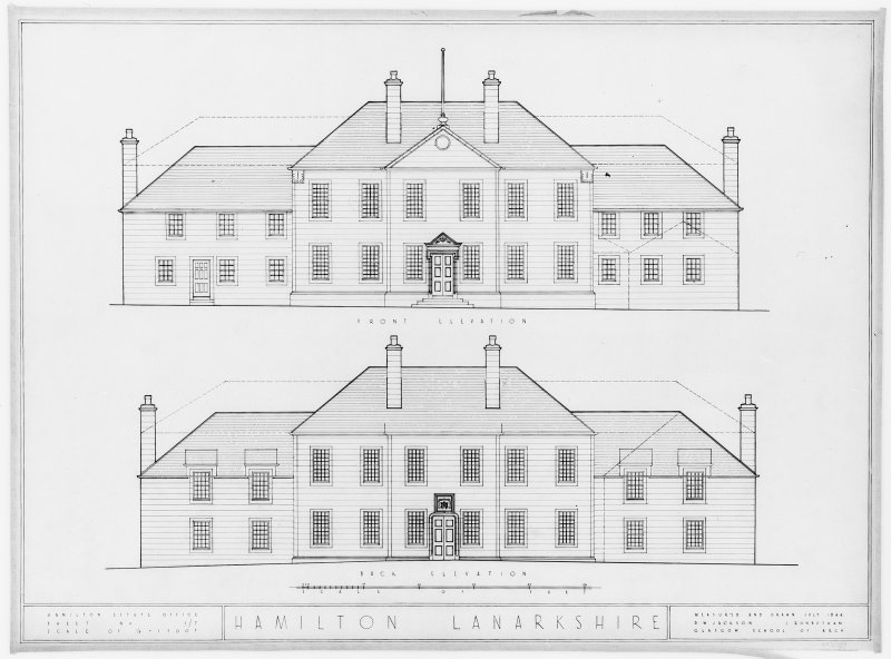 Photographic copy of drawing showing elevations