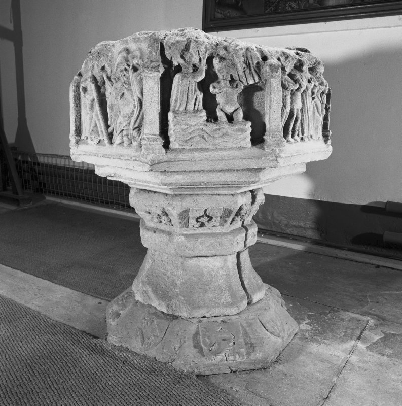 View of font in Fowlis Easter Church.