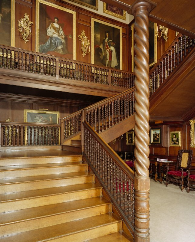 View of principal staircase at Drumlanrig Castle from South West