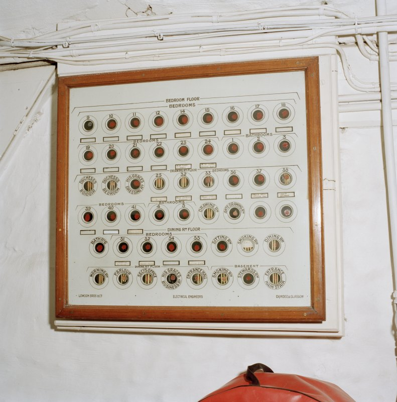 Interior, basement, detail of servants' bell board. Digital image of D 41703/cn