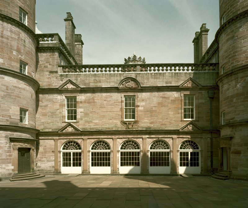 Courtyard, view of north wall with five arched windows from south Digital image of D 47036/cn