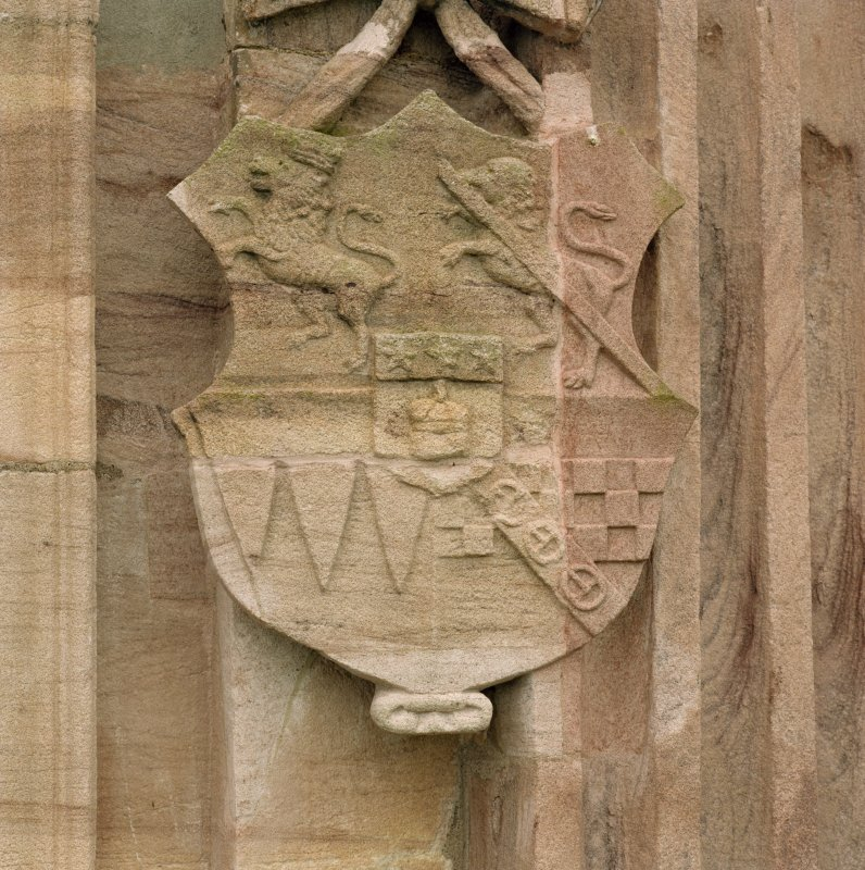 North facade, detail of coat of arms to right of main entrance. Digital image of D 68487/cn