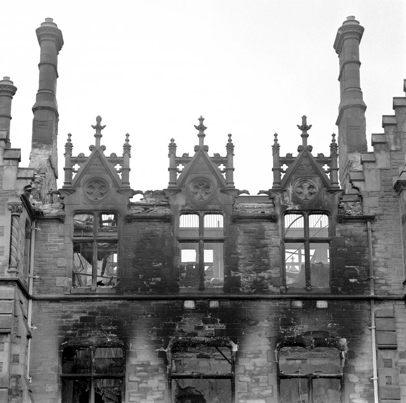 Detail of dormers and chimney stacks on south west facade (after fire), Morgan Academy, Dundee.