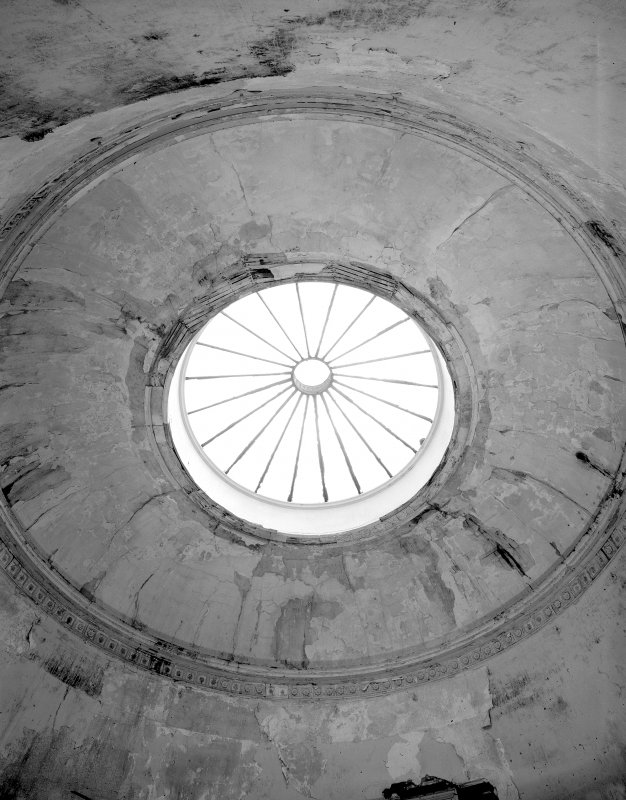 Interior. Detail of cupola and frieze above principal stair.