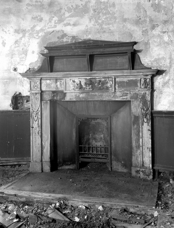 Interior. Detail of fireplace in second floor library.