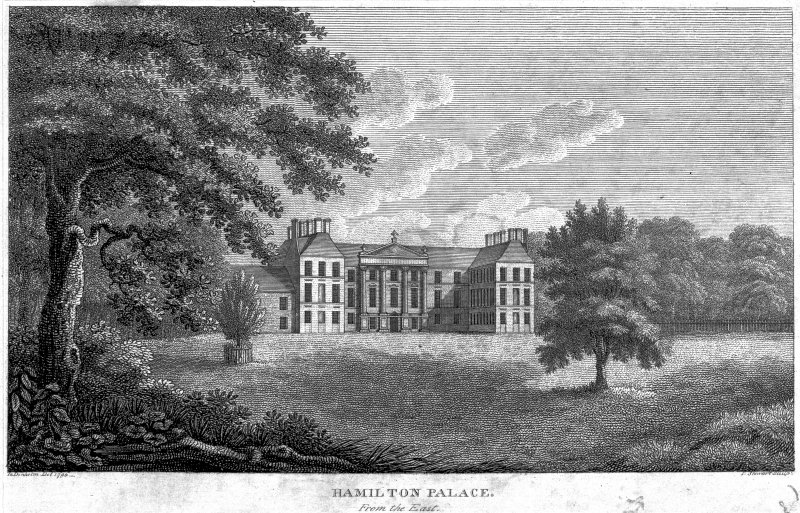 Photographic copy of general engraved view. Insc: 'Hamilton Palace, From the East. Ta. Denholm Del. 1790. L Stewart Sculpt'. Digital image of E 33530 p