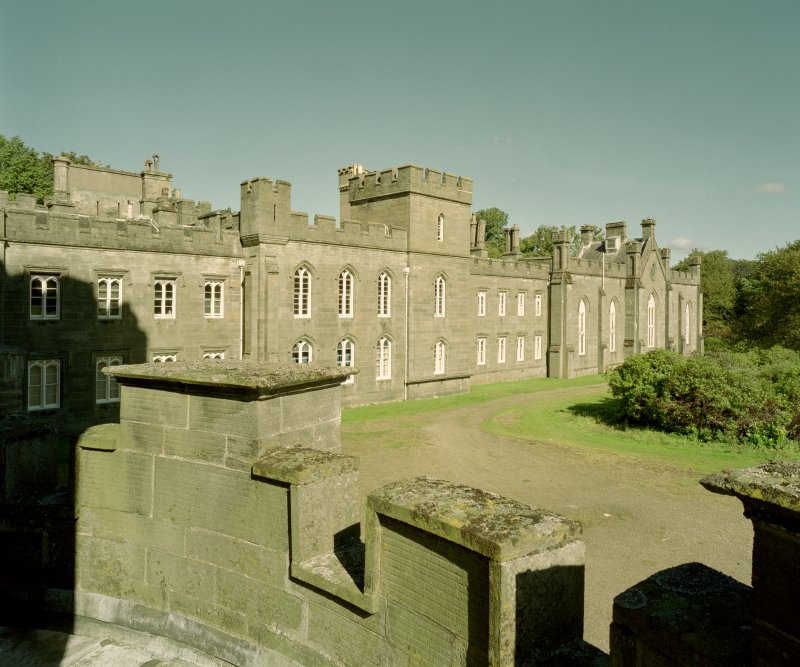 Taymouth Castle.  View of East range from 1st. floor parapet of main block to South West. Digital image of D/21745/cn