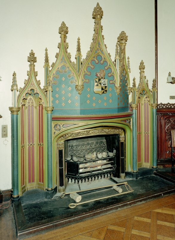 Taymouth Castle.  1st. floor, Dining-room, view of fireplace. Digital image of D/21844/cn