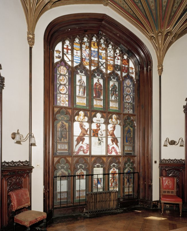Taymouth Castle.  1st. floor, Dining-room, view of stained glass window at West end.