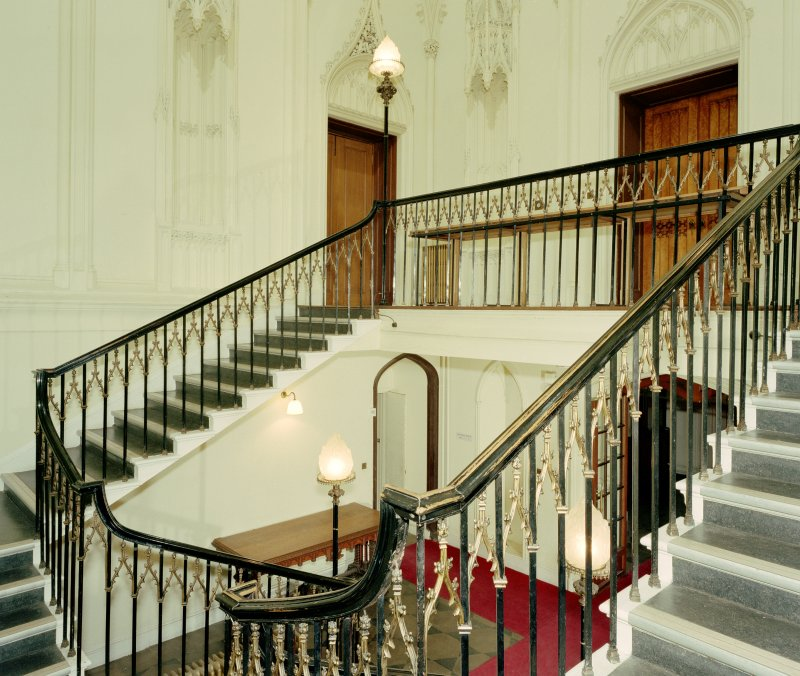 Taymouth Castle.  Main staircase hall, view of stair from half-landing to North West. Digital image of D/21768/cn