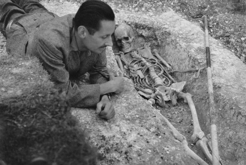Digital copy of view of grave V, excavations by Brian Hope-Taylor 1948-49. Digital image only
