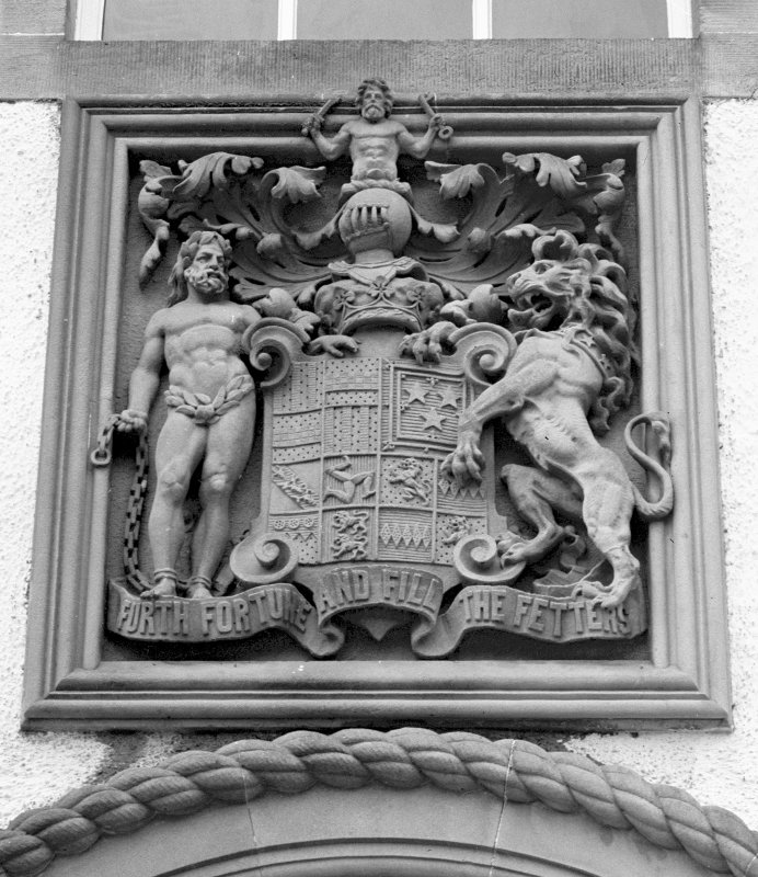 Blair Castle. Exterior detail of armorial plaque in wall. Digital image of PT 468.