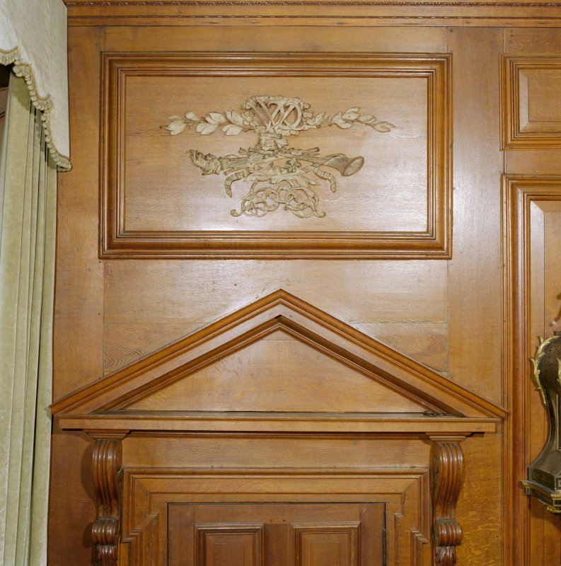 Interior, 1st. floor, ante-room, detail of carved wooden panel above door to 'Bonnie Prince Charlie's' bedroom. Digital image of D 41678 cn
