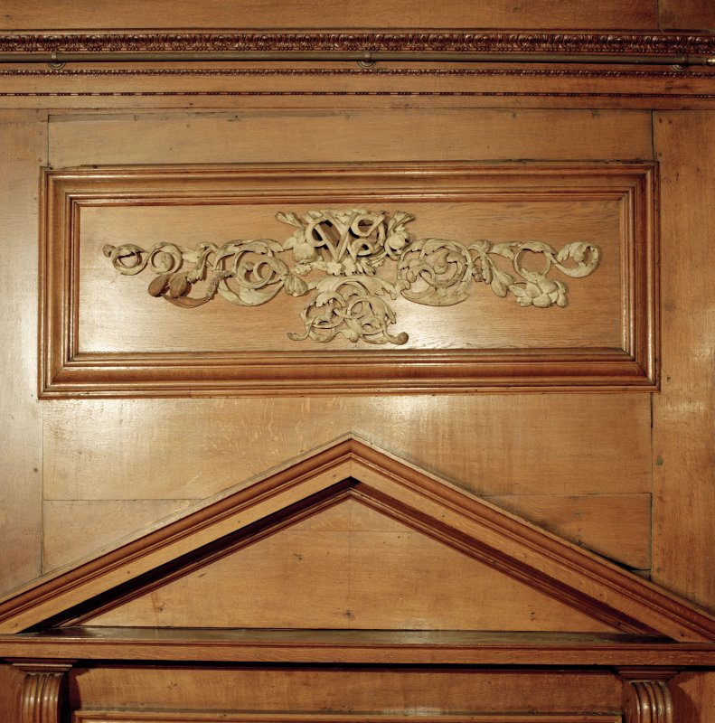 Interior, 1st. floor, ante-room, detail of carved wooden panel above door to drawing-room. Digital image of D 41680 cn