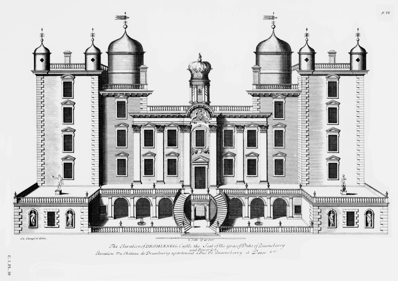 Photographic copy of drawing from Vitruvius Scoticus showing main front of Drumlanrig Castle