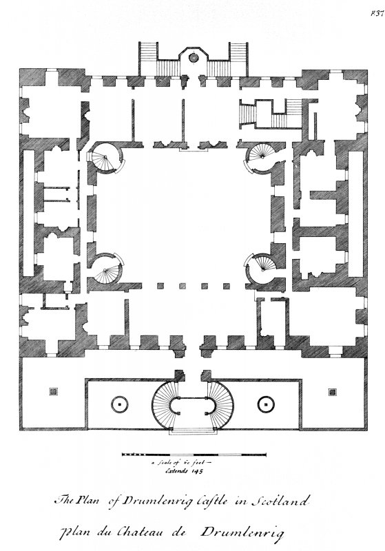 Photographic copy of drawing from Vitruvius Scoticus showing floor plan of Drumlanrig Castle Digital image of DFD 58/13 p