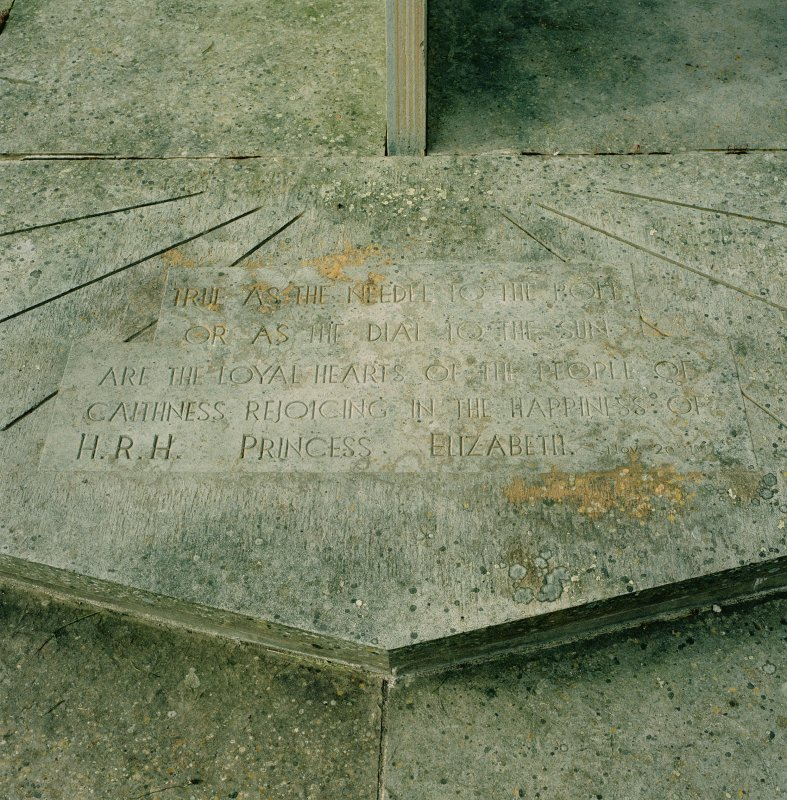 Detail of inscription on sundial at Balmoral Castle.  'True as the needle to the pole or as the dial to the sun are the loyal hearts of the people of Caithness rejoicing in the happiness of HRH Princess Elizabeth. Nov.20th 1947'