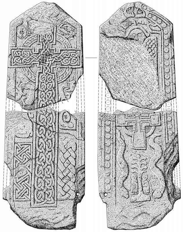 Faces of two cross slabs showing symbols. Stone held at Pictavia. Signed: 'JB'