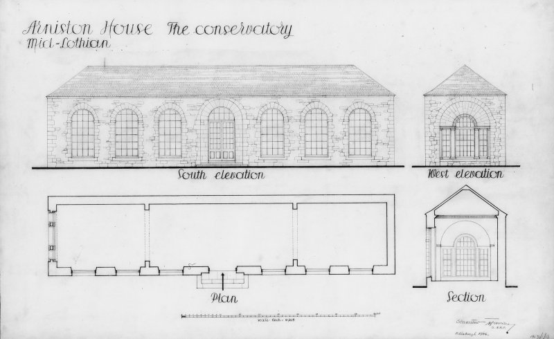 Photographic copy of plan, section and South and West elevations of conservatory. Digital image of MLD/1/13/p.