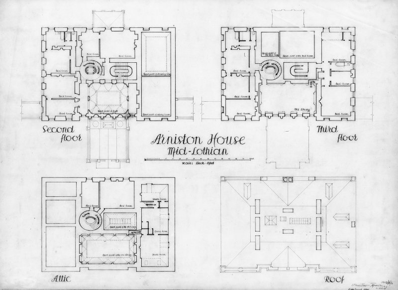 Floor plans of second floor, third floor, attic and roof of Arniston House, Midlothian. Digital image of MLD/1/4/p.