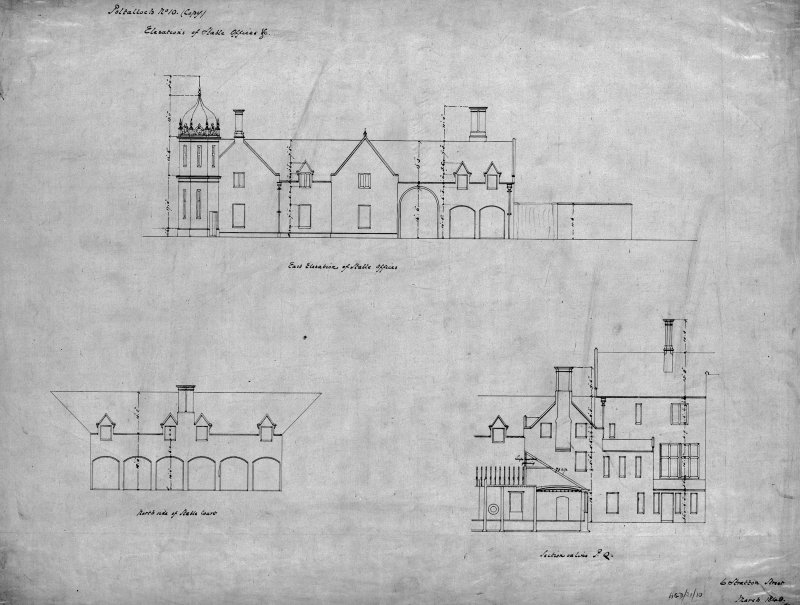 Argyll, Kilmartin, Poltalloch House. Photographic copy of elevations and sections of stable offices. Digital image of AGD/21/10/p