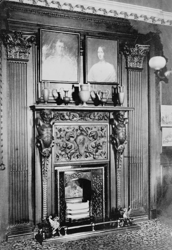 Interior. View of Oak Room fireplace. Digital image of B 50485.