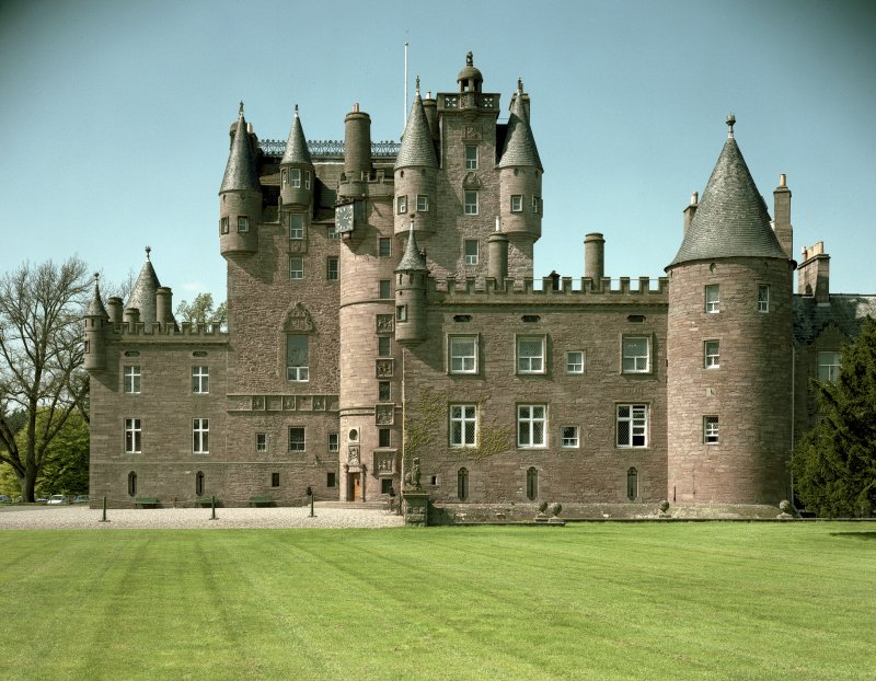 General view of Glamis Castle, Angus, showing SSE front, taken from SSE.