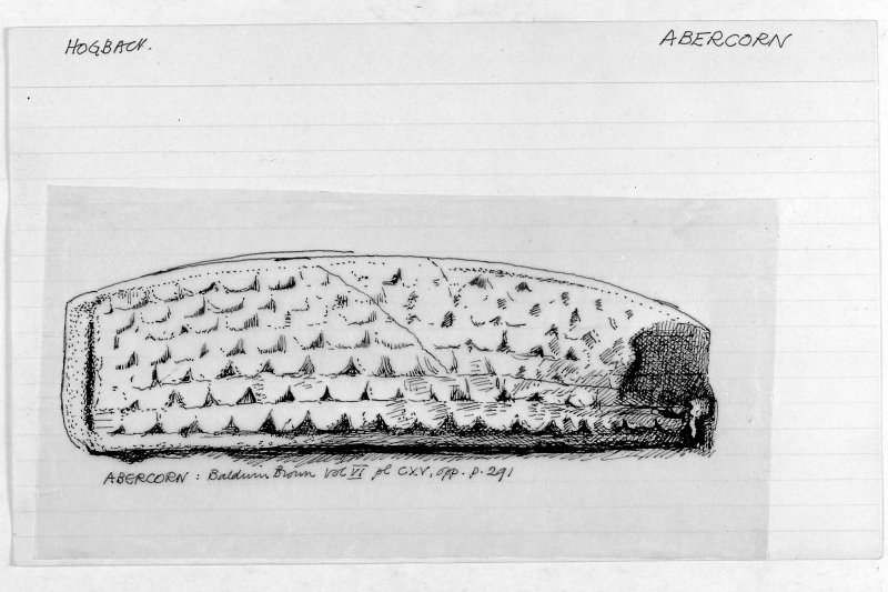 Copy of a drawing of hogback by Brian Hope-Taylor,