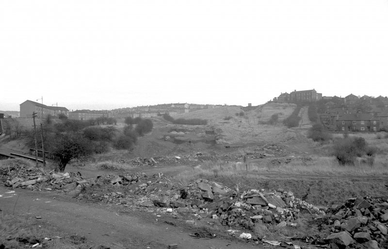 View from SW on Provan Road showing site of locks and incline
