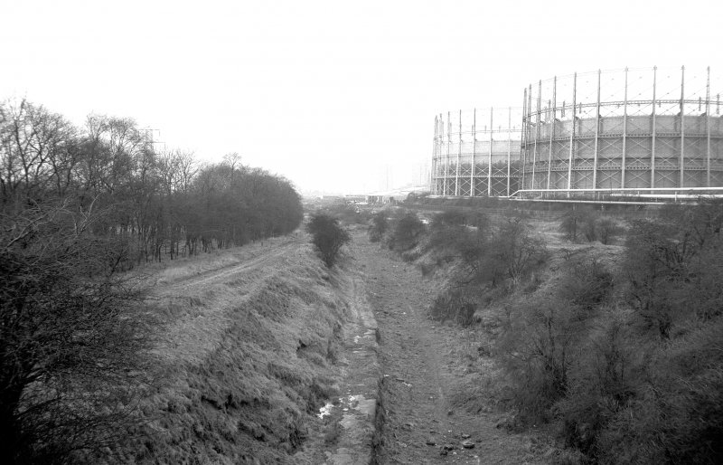 View from ENE showing gasholders and bed of Monkland Canal