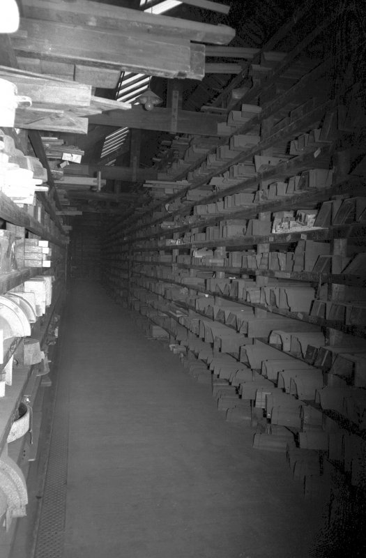 Interior View showing shelves in pattern store