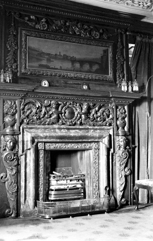 Interior. View of the fireplace in the Tapestry Room. Digital image of B 38800.