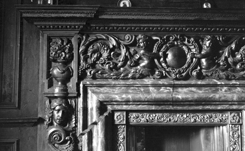 Interior. Detail of fireplace in the Tapestry Room. Digital image of B 38797.