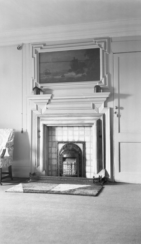 Interior. View of second floor room fireplace with seascape overmantel. Digital image of B 38796.