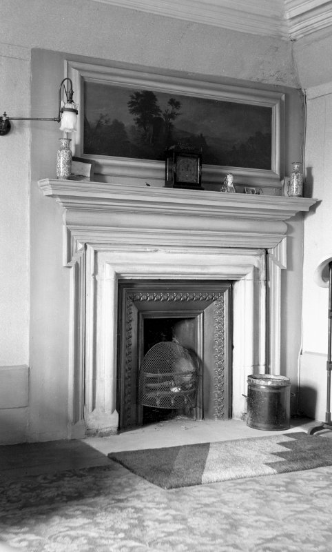 Interior. View of fireplace with landscape overmantel (?Nories) Digital image of B 38801.