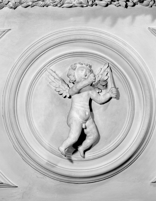 Detail of plaster cherubs in the Tapestry Room. Digital image of ED 1939.