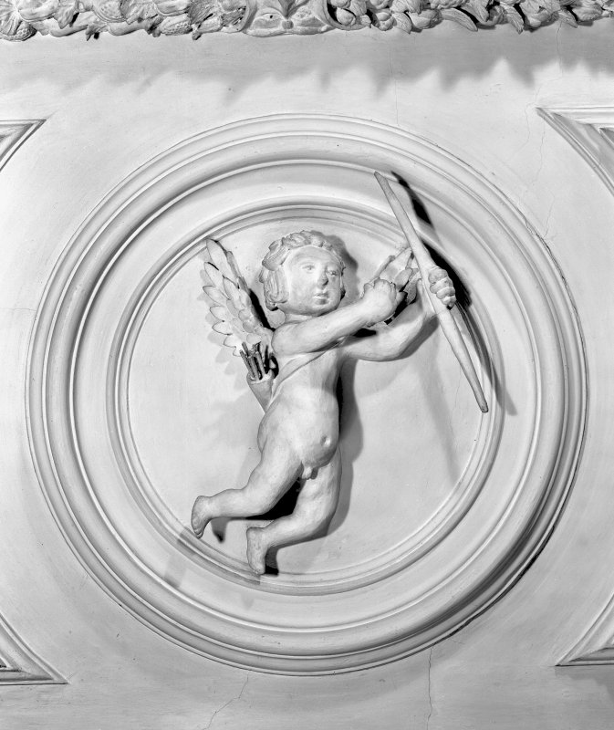 Detail of plaster cherub in the Tapestry Room of Prestonfield House.