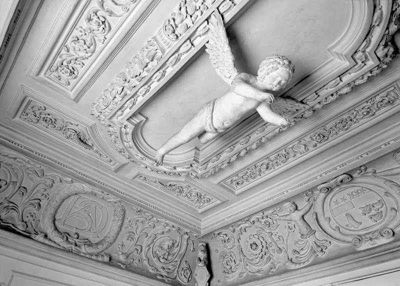Detail of decorative ceiling in the cupid room of Prestonfield House.