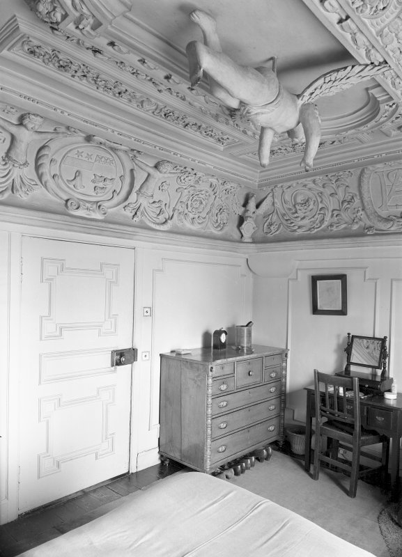 Interior. Cupid Room, view of room showing decorative ceiling. Digital image of ED 1932.
