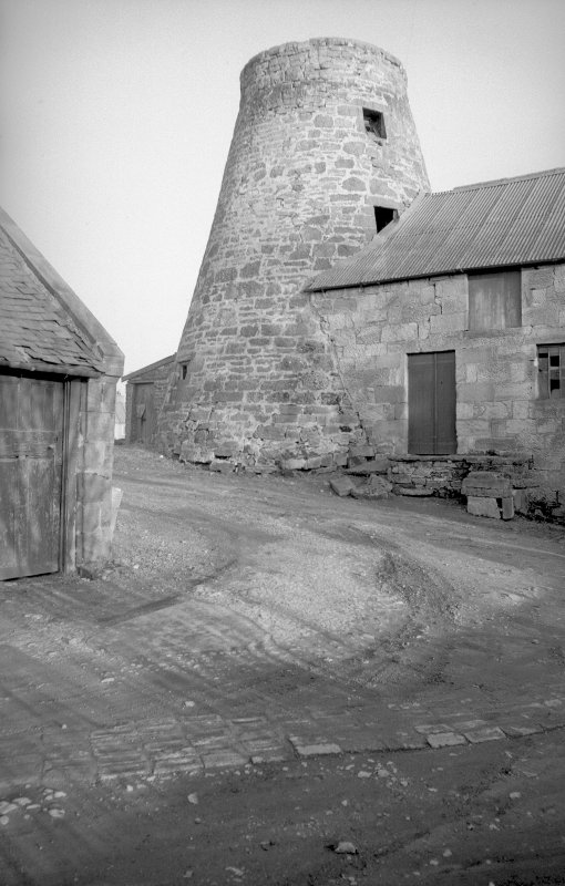 View from WSW showing tower and part of WNW front of mill block
