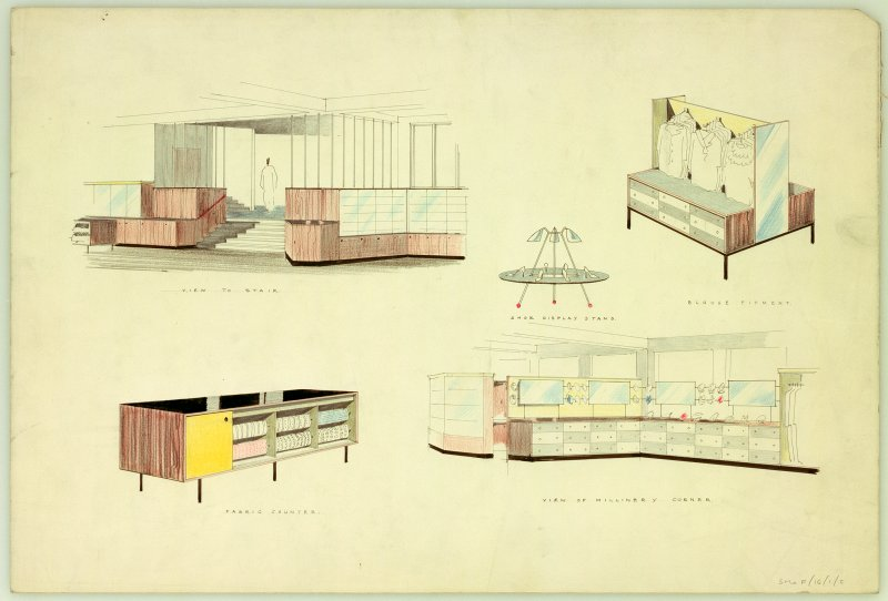 Possibly for Edinburgh, 47-52 Princes Street, Jenners. Designs for shoe display stand, blouse fitment, fabric counter.  Views of stair and millinery corner. Scanned image of E 21205 P.