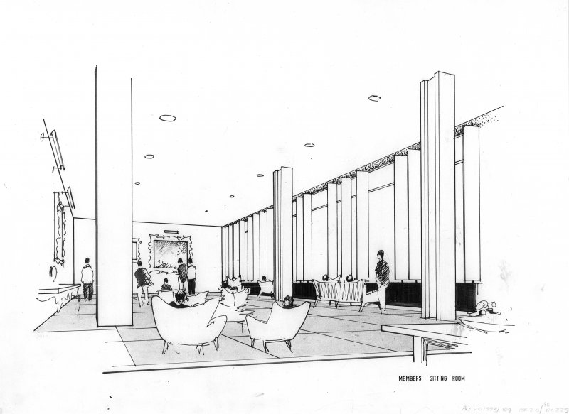 86 Princes Street, New Club. Interior sketch perspective. Titled: 'Members' sitting room.' Scanned image of E 21565 P.